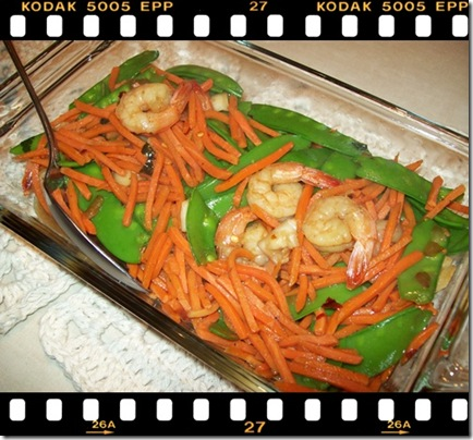 shrimps and snowpeas